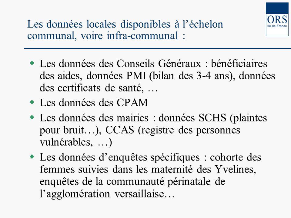 Les données locales disponibles à léchelon communal, voire infra-communal : Les données des Conseils Généraux : bénéficiaires des aides, données PMI (