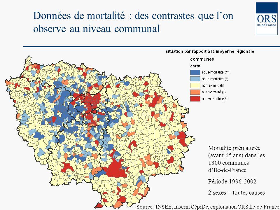 Mortalité prématurée (avant 65 ans) dans les 1300 communes dIle-de-France Période 1996-2002 2 sexes – toutes causes Données de mortalité : des contras