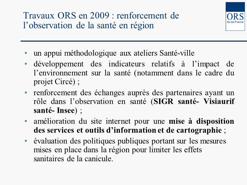 Travaux ORS en 2009 : renforcement de lobservation de la santé en région un appui méthodologique aux ateliers Santé-ville développement des indicateur