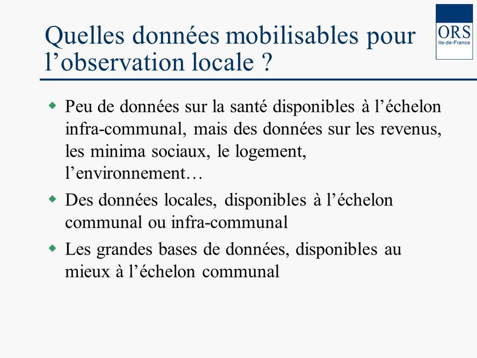 Quelles données mobilisables pour lobservation locale ? Peu de données sur la santé disponibles à léchelon infra-communal, mais des données sur les re