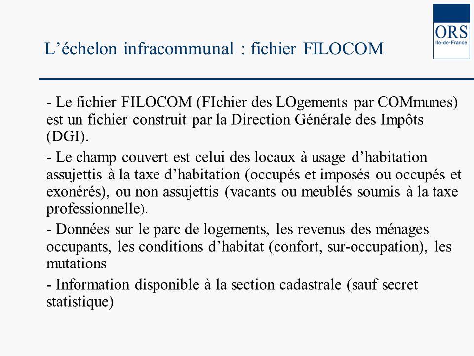 Léchelon infracommunal : fichier FILOCOM - Le fichier FILOCOM (FIchier des LOgements par COMmunes) est un fichier construit par la Direction Générale