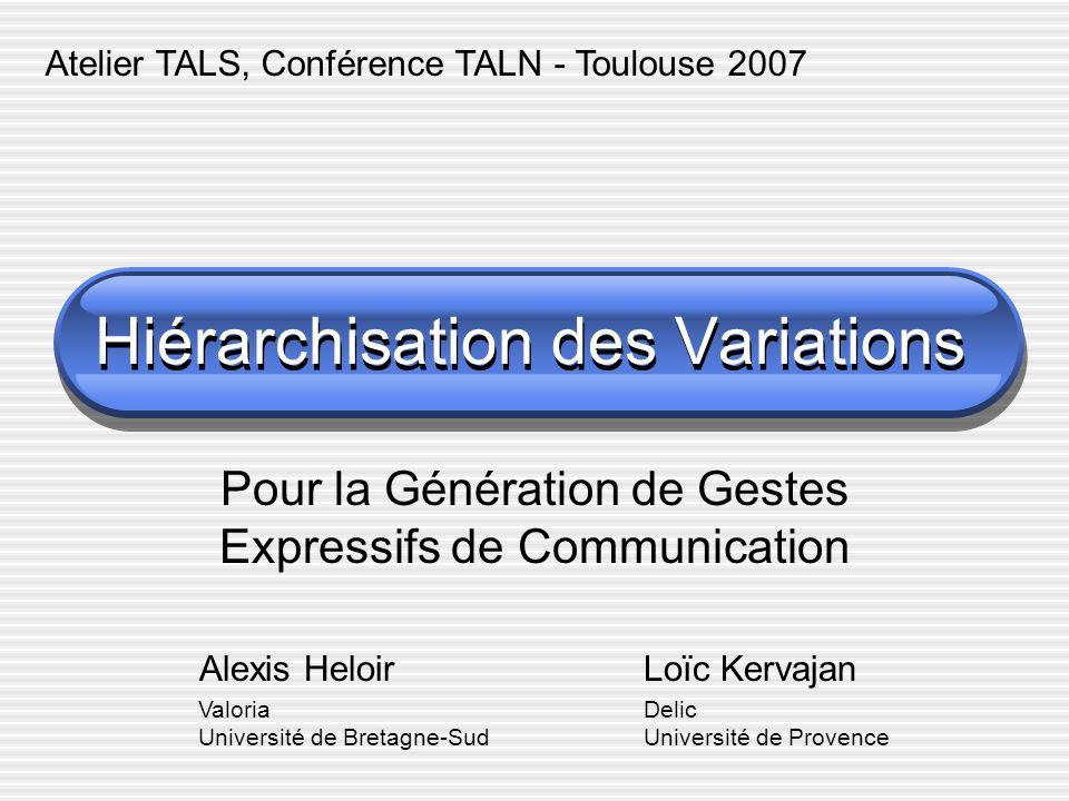 Contexte, Motivation Génération de séquences gestuelles en LSF Au delà de la concaténation lexicale Démarche danalyse-synthèse Prise en compte de la visée iconique Des problématiques qui se rejoignent Modèles linguistiques Modèles de génération de mouvements