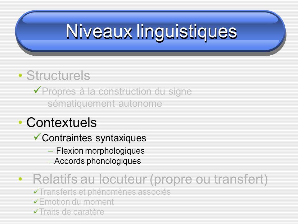 Niveaux linguistiques Contextuels Flexion morphologique VOITURE AVANCER[mph] MOTO AVANCER[mpv] HOMME AVANCER[d] Avancer[ ] {d, mph, mpv,...} voiture {mph, c, 1,...} Moto {mpv, 1,...} Homme {d, n, v, i,...}