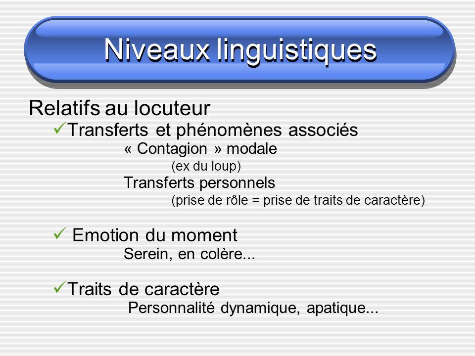Niveaux linguistiques « contagion modale »Transfert personnel