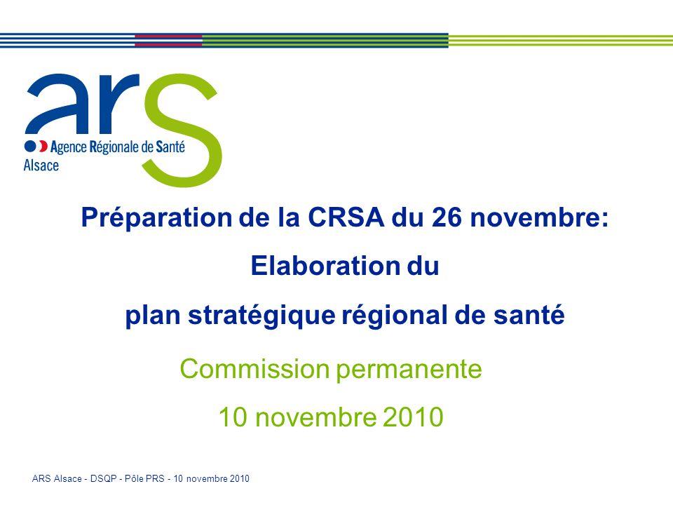 ARS Alsace - DSQP - Pôle PRS - 10 novembre 2010 Préparation de la CRSA du 26 novembre: Elaboration du plan stratégique régional de santé Commission pe