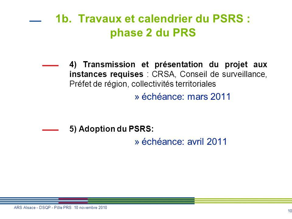 10 ARS Alsace - DSQP - Pôle PRS 10 novembre 2010 1b. Travaux et calendrier du PSRS : phase 2 du PRS 4) Transmission et présentation du projet aux inst