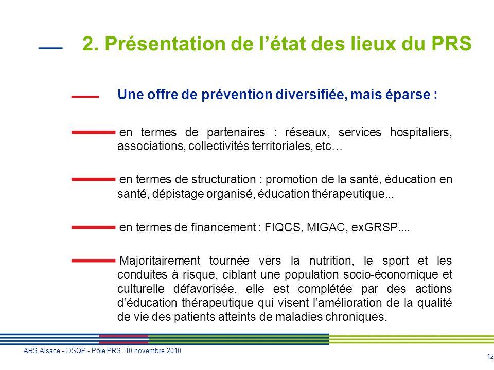 12 ARS Alsace - DSQP - Pôle PRS 10 novembre 2010 2. Présentation de létat des lieux du PRS Une offre de prévention diversifiée, mais éparse : en terme