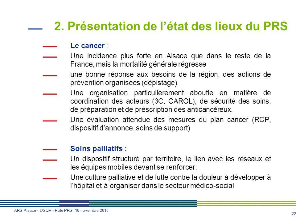 22 ARS Alsace - DSQP - Pôle PRS 10 novembre 2010 2. Présentation de létat des lieux du PRS Le cancer : Une incidence plus forte en Alsace que dans le