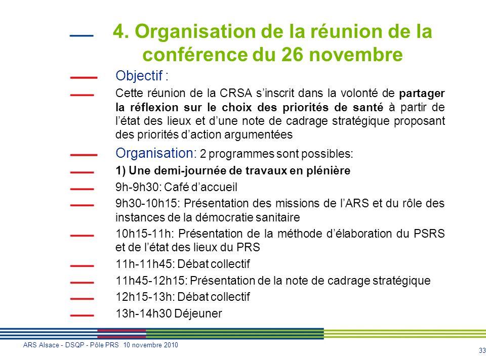 33 ARS Alsace - DSQP - Pôle PRS 10 novembre 2010 4. Organisation de la réunion de la conférence du 26 novembre Objectif : Cette réunion de la CRSA sin