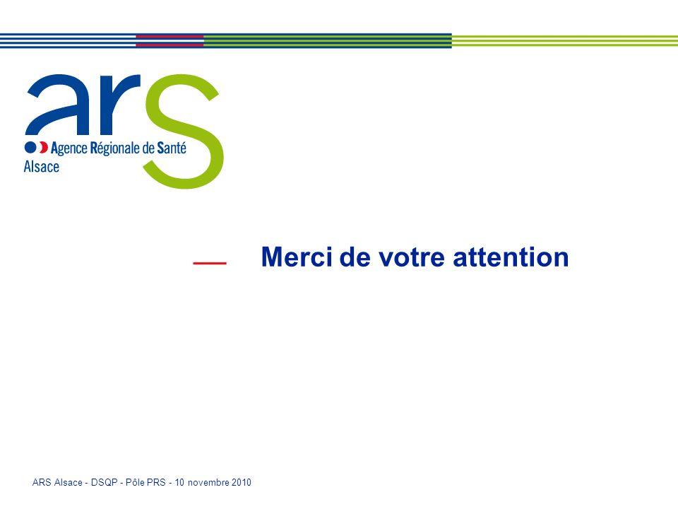 ARS Alsace - DSQP - Pôle PRS - 10 novembre 2010 Merci de votre attention
