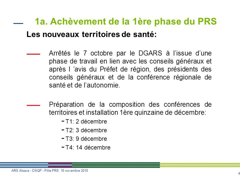 4 ARS Alsace - DSQP - Pôle PRS 10 novembre 2010 1a. Achèvement de la 1ère phase du PRS Les nouveaux territoires de santé: Arrêtés le 7 octobre par le