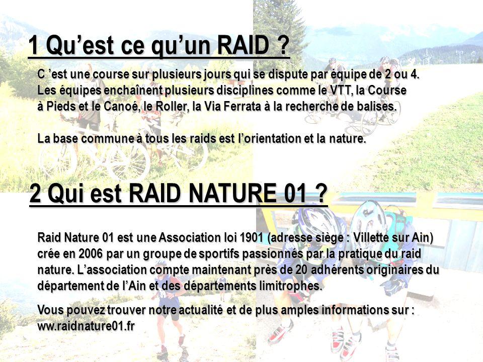 1 Quest ce quun RAID ? Raid Nature 01 est une Association loi 1901 (adresse siège : Villette sur Ain) crée en 2006 par un groupe de sportifs passionné