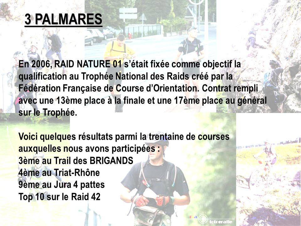 3 PALMARES En 2006, RAID NATURE 01 sétait fixée comme objectif la qualification au Trophée National des Raids créé par la Fédération Française de Cour