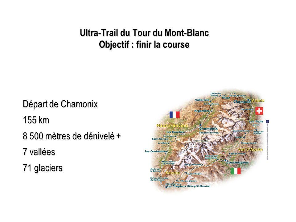 Ultra-Trail du Tour du Mont-Blanc Objectif : finir la course Départ de Chamonix 155 km 8 500 mètres de dénivelé + 7 vallées 71 glaciers