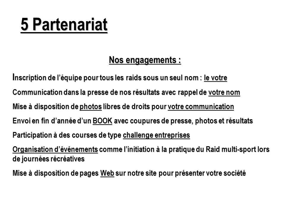 5 Partenariat Nos engagements : I nscription de léquipe pour tous les raids sous un seul nom : le votre Communication dans la presse de nos résultats