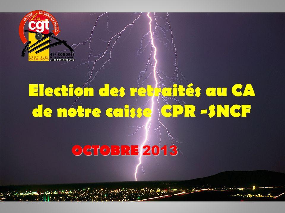 1 Election des retraités au CA de notre caisse CPR -SNCF OCTOBRE 2013