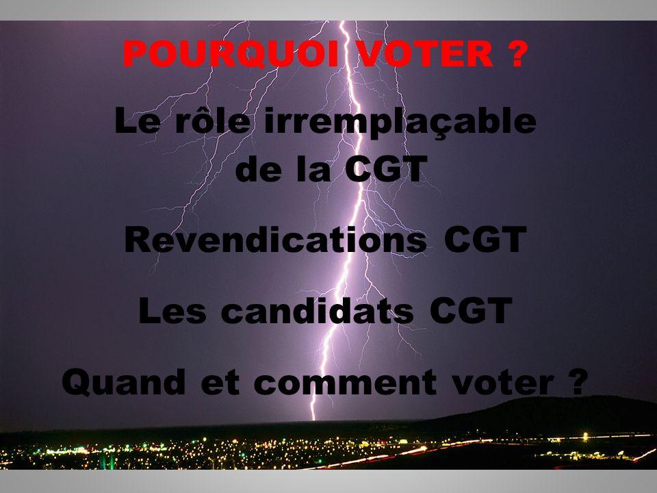 2 POURQUOI VOTER ? Le rôle irremplaçable de la CGT Revendications CGT Les candidats CGT Quand et comment voter ?