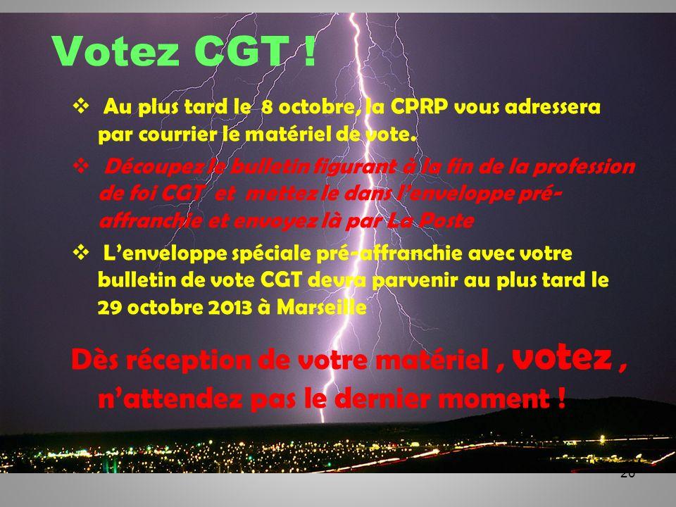 20 Votez CGT ! Au plus tard le 8 octobre, la CPRP vous adressera par courrier le matériel de vote. Découpez le bulletin figurant à la fin de la profes