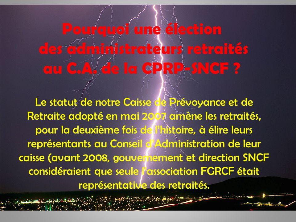 3 Pourquoi une élection des administrateurs retraités au C.A. de la CPRP-SNCF ? Le statut de notre Caisse de Prévoyance et de Retraite adopté en mai 2