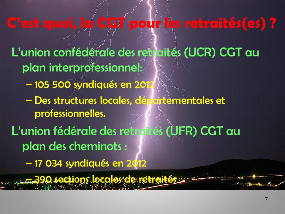 7 Cest quoi, la CGT pour les retraités(es) ? Lunion confédérale des retraités (UCR) CGT au plan interprofessionnel: –105 500 syndiqués en 2012 –Des st