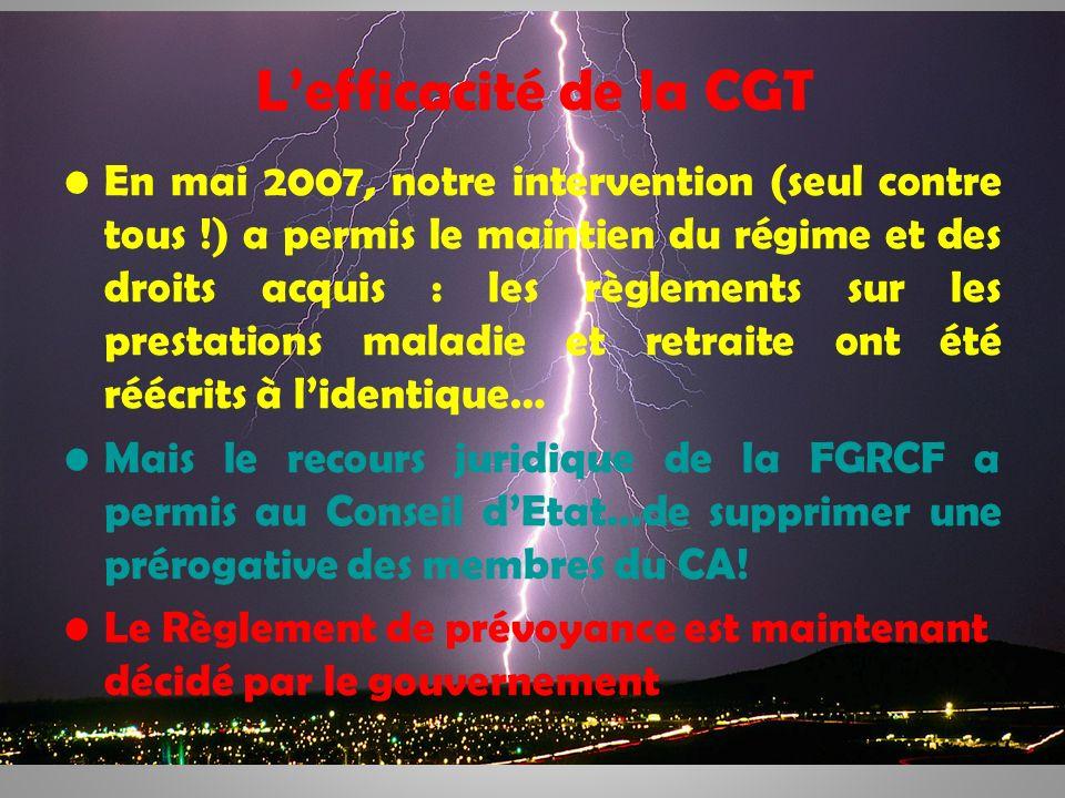 8 Lefficacité de la CGT En mai 2007, notre intervention (seul contre tous !) a permis le maintien du régime et des droits acquis : les règlements sur