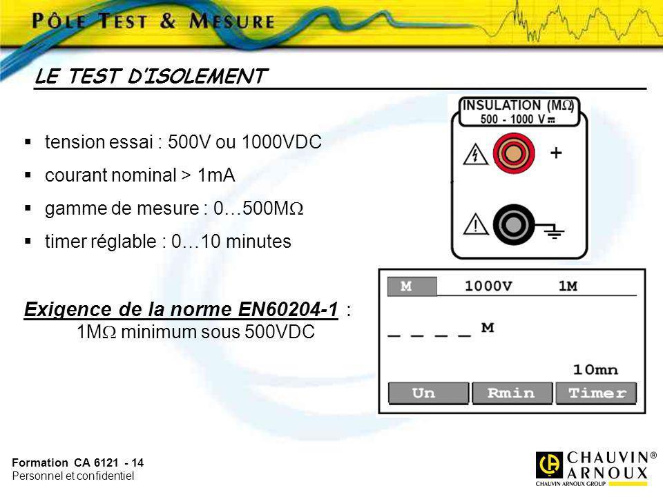 Formation CA 6121 - 14 Personnel et confidentiel tension essai : 500V ou 1000VDC courant nominal > 1mA gamme de mesure : 0…500M timer réglable : 0…10