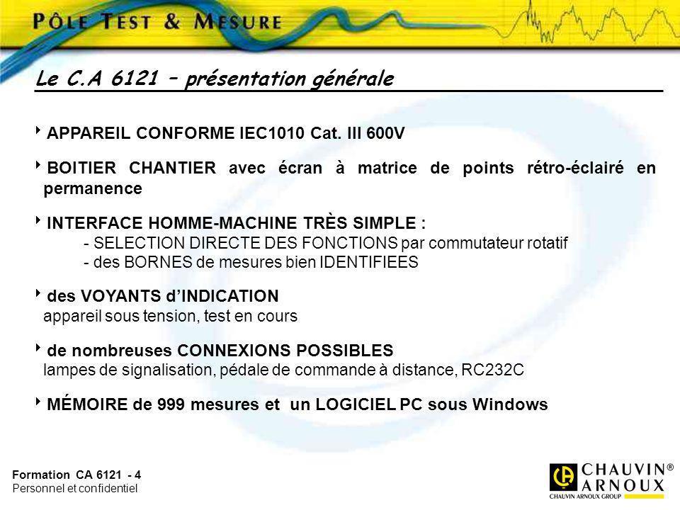 Formation CA 6121 - 4 Personnel et confidentiel APPAREIL CONFORME IEC1010 Cat. III 600V BOITIER CHANTIER avec écran à matrice de points rétro-éclairé