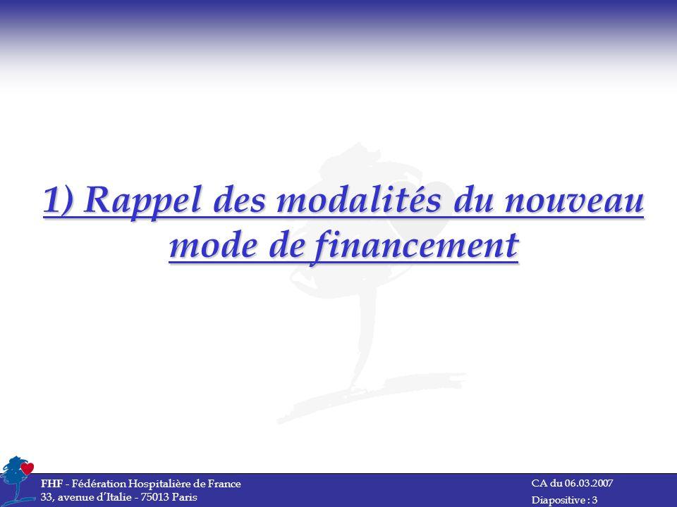 CA du 06.03.2007 FHF - Fédération Hospitalière de France 33, avenue dItalie - 75013 Paris Diapositive : 3 1) Rappel des modalités du nouveau mode de f