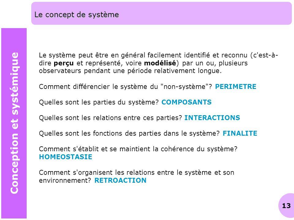 13 Le concept de système Conception et systémique Le système peut être en général facilement identifié et reconnu (c'est-à- dire perçu et représenté,