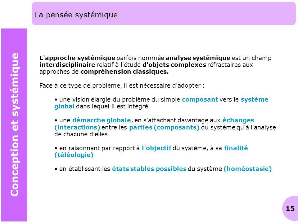 15 La pensée systémique Conception et systémique L'approche systémique parfois nommée analyse systémique est un champ interdisciplinaire relatif à l'é