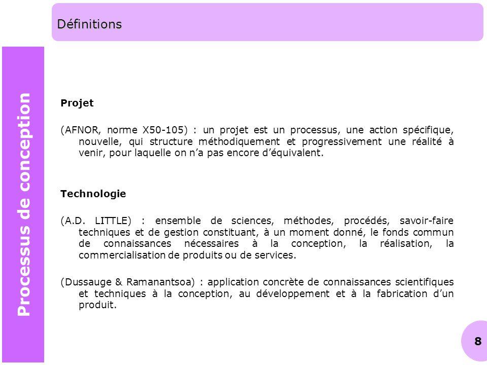 8 Définitions Projet (AFNOR, norme X50-105) : un projet est un processus, une action spécifique, nouvelle, qui structure méthodiquement et progressive