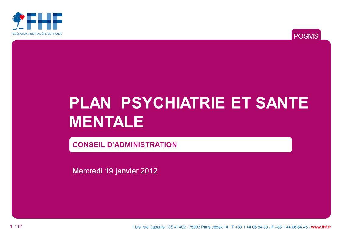 1 / 12 PLAN PSYCHIATRIE ET SANTE MENTALE CONSEIL DADMINISTRATION Mercredi 19 janvier 2012 POSMS