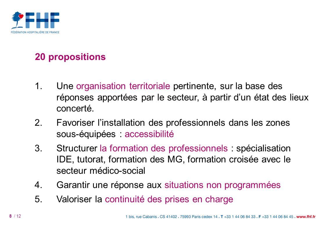 8 / 12 20 propositions 1.Une organisation territoriale pertinente, sur la base des réponses apportées par le secteur, à partir dun état des lieux concerté.