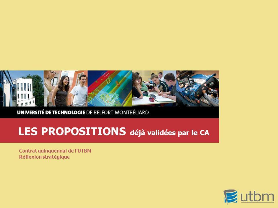 LES PROPOSITIONS déjà validées par le CA Contrat quinquennal de lUTBM Réflexion stratégique