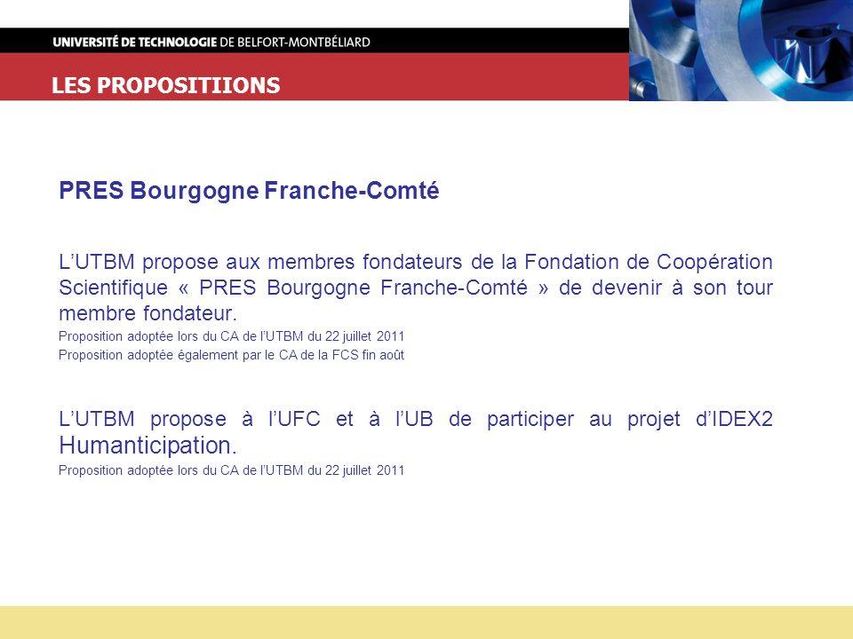 LES PROPOSITIIONS PRES Bourgogne Franche-Comté LUTBM propose aux membres fondateurs de la Fondation de Coopération Scientifique « PRES Bourgogne Franche-Comté » de devenir à son tour membre fondateur.