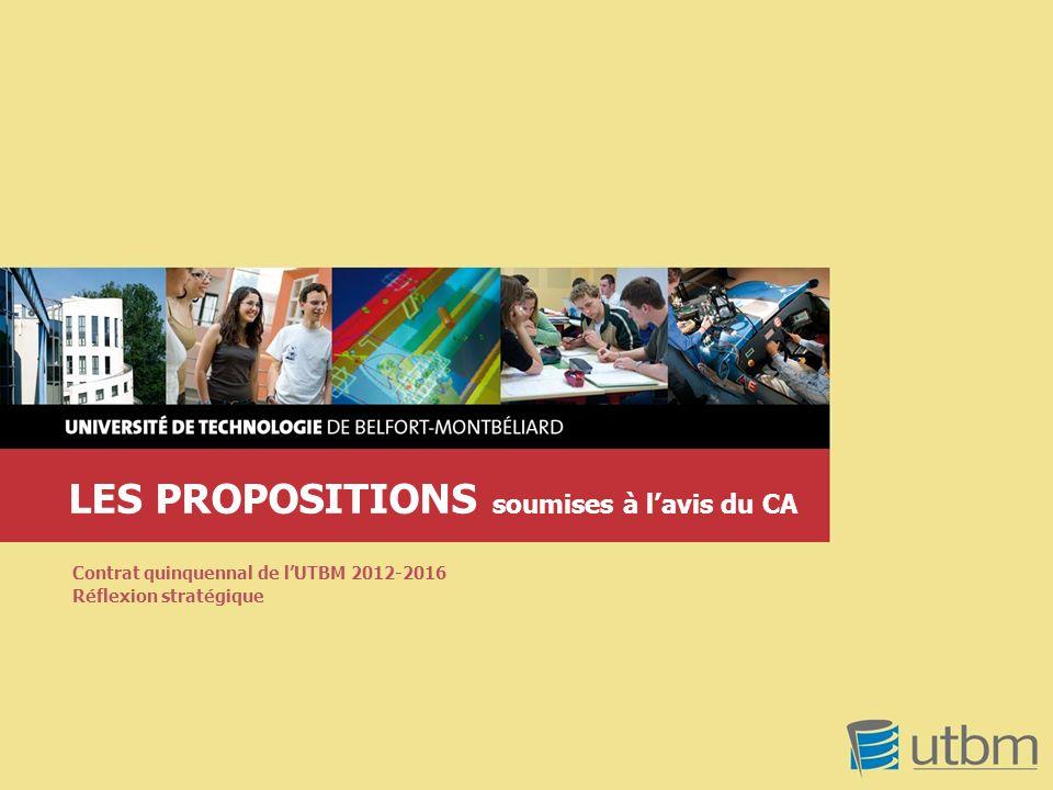 LES PROPOSITIONS soumises à lavis du CA Contrat quinquennal de lUTBM 2012-2016 Réflexion stratégique
