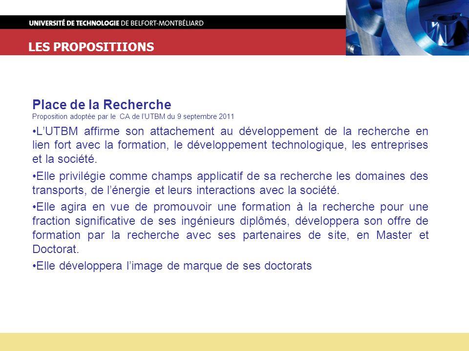 LES PROPOSITIIONS Place de la Recherche Proposition adoptée par le CA de lUTBM du 9 septembre 2011 LUTBM affirme son attachement au développement de la recherche en lien fort avec la formation, le développement technologique, les entreprises et la société.