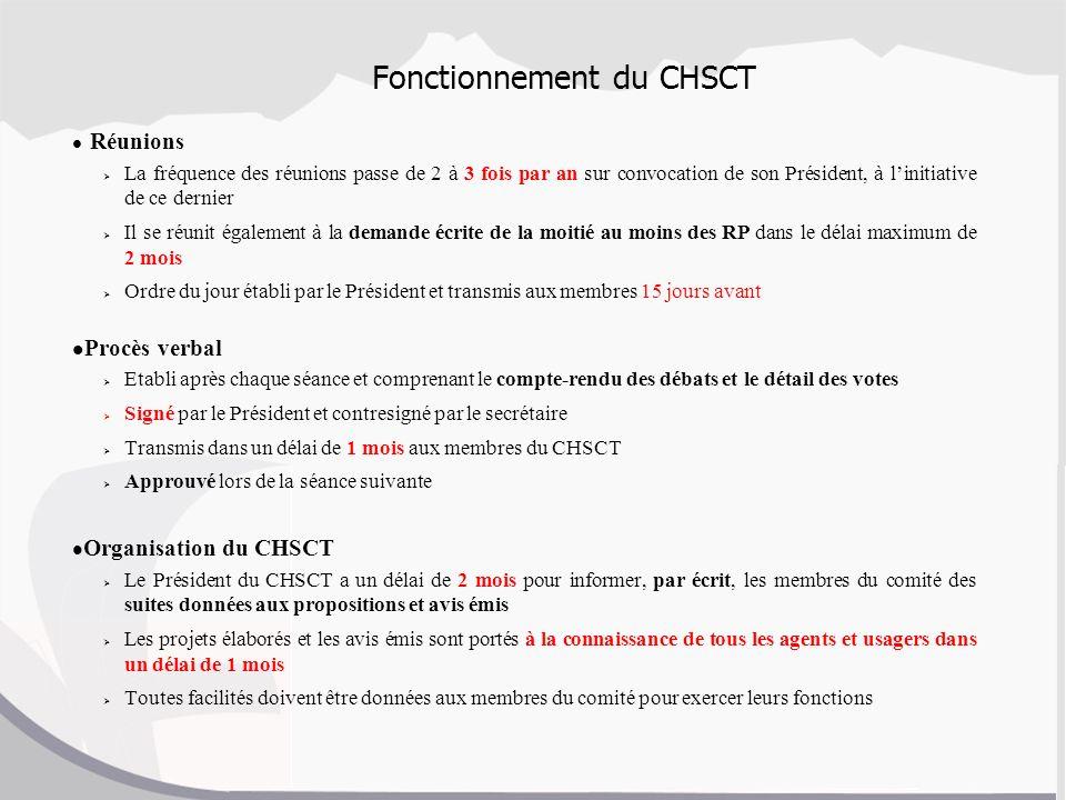 Fonctionnement du CHSCT Réunions La fréquence des réunions passe de 2 à 3 fois par an sur convocation de son Président, à linitiative de ce dernier Il
