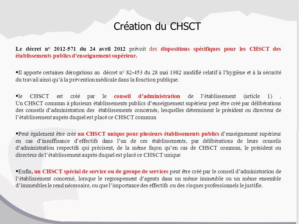 Création du CHSCT Le décret n° 2012-571 du 24 avril 2012 prévoit des dispositions spécifiques pour les CHSCT des établissements publics d'enseignement
