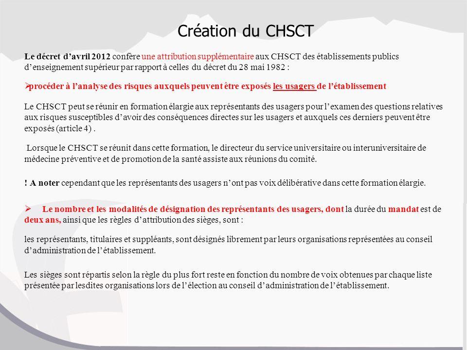 Création du CHSCT Le décret davril 2012 confère une attribution supplémentaire aux CHSCT des établissements publics denseignement supérieur par rappor