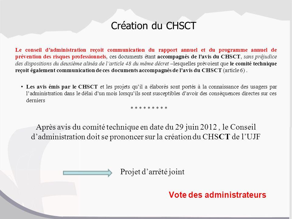 Création du CHSCT Le conseil dadministration reçoit communication du rapport annuel et du programme annuel de prévention des risques professionnels, c