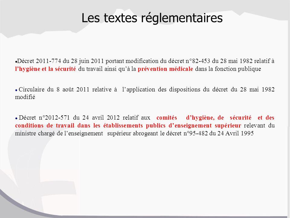 Les textes réglementaires Décret 2011-774 du 28 juin 2011 portant modification du décret n°82-453 du 28 mai 1982 relatif à lhygiène et la sécurité du