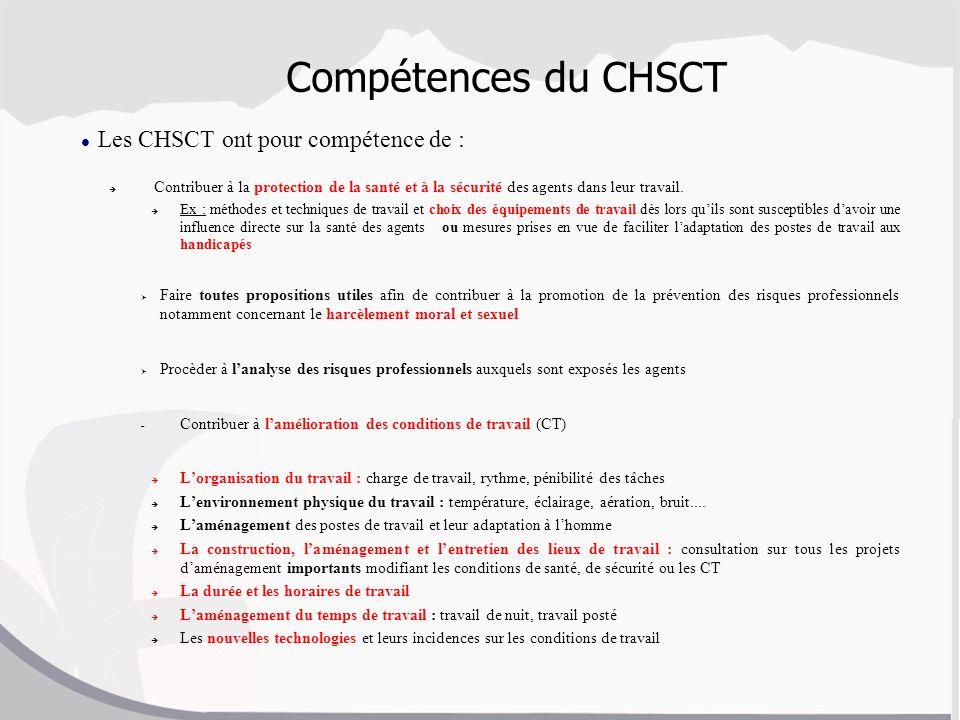 Compétences du CHSCT Les CHSCT ont pour compétence de : Contribuer à la protection de la santé et à la sécurité des agents dans leur travail. Ex : mét