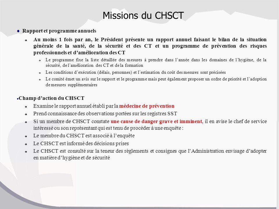 Missions du CHSCT Rapport et programme annuels Au moins 1 fois par an, le Président présente un rapport annuel faisant le bilan de la situation généra