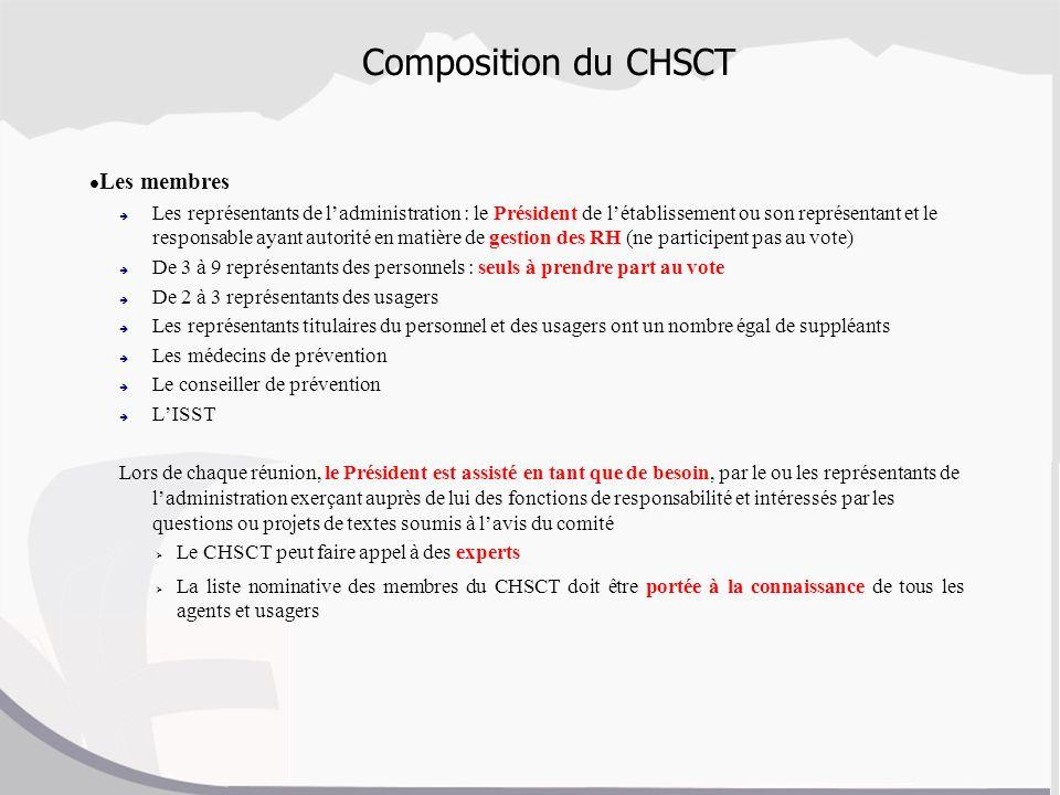 Composition du CHSCT Les membres Les représentants de ladministration : le Président de létablissement ou son représentant et le responsable ayant aut