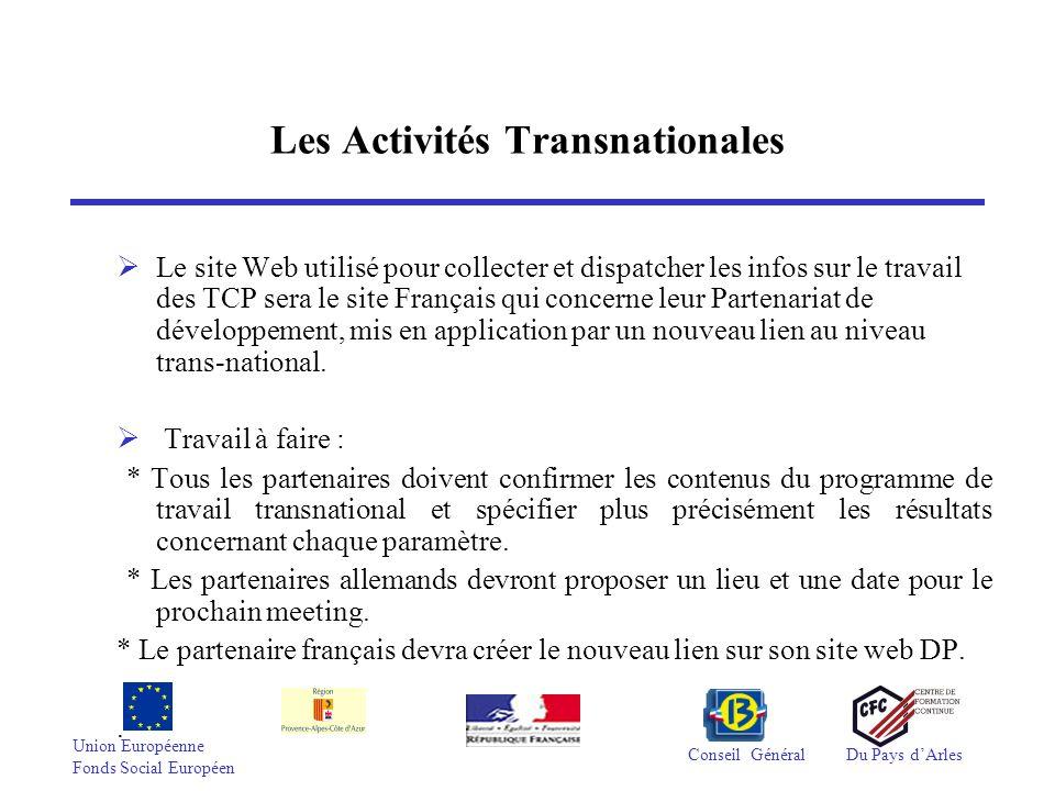 Union Européenne Fonds Social Européen Conseil GénéralDu Pays dArles Les Activités Transnationales Le site Web utilisé pour collecter et dispatcher le