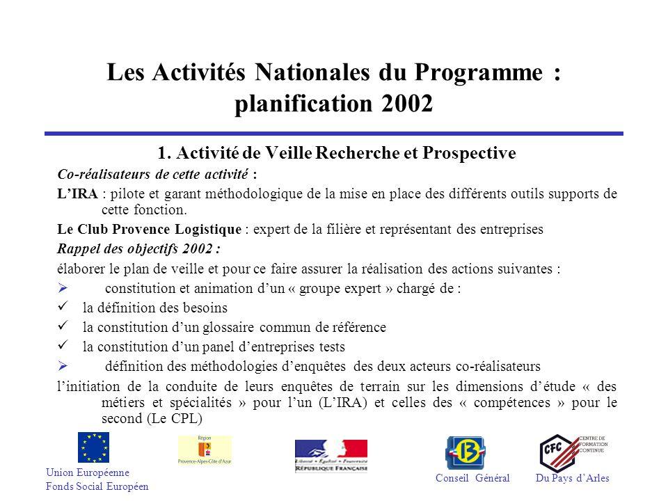 Union Européenne Fonds Social Européen Conseil GénéralDu Pays dArles Les Activités Nationales du Programme : planification 2002 1. Activité de Veille