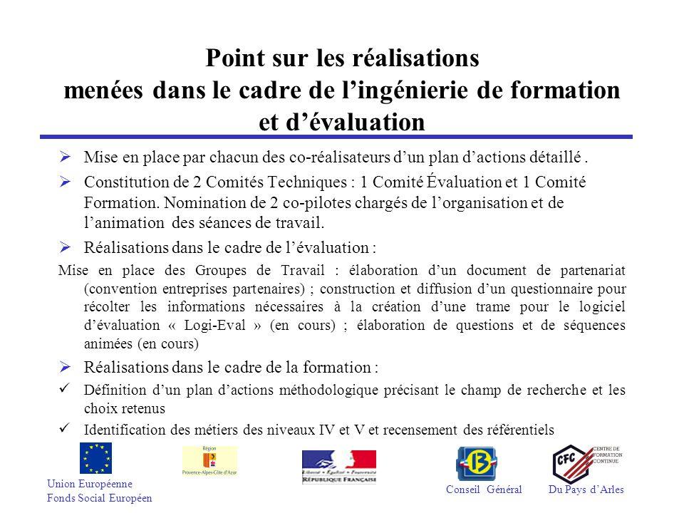 Union Européenne Fonds Social Européen Conseil GénéralDu Pays dArles Point sur les réalisations menées dans le cadre de lingénierie de formation et dé