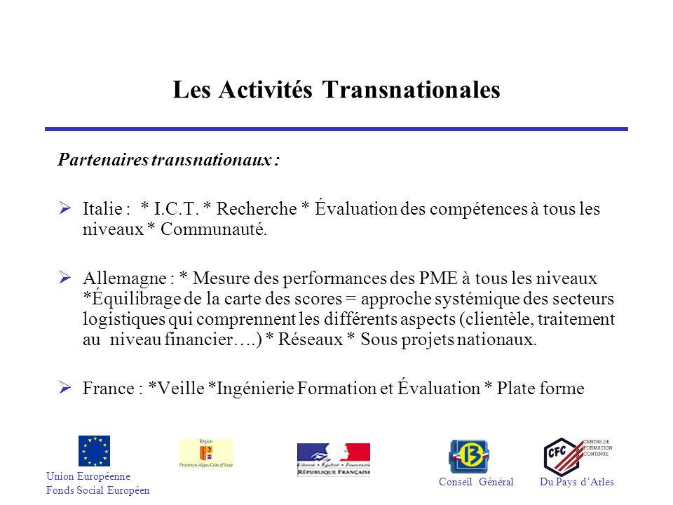 Union Européenne Fonds Social Européen Conseil GénéralDu Pays dArles Les Activités Transnationales Partenaires transnationaux : Italie : * I.C.T. * Re