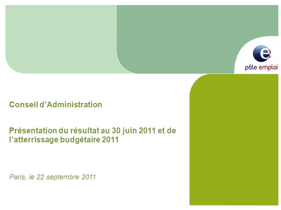 Conseil dAdministration Présentation du résultat au 30 juin 2011 et de latterrissage budgétaire 2011 Paris, le 22 septembre 2011